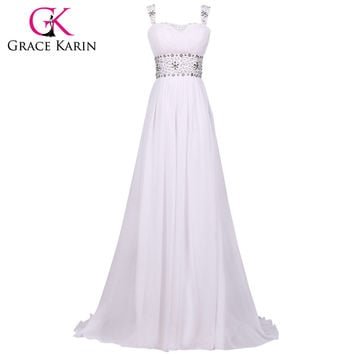 Grace Karin Floor Length Beach Wedding Dress White Crystal