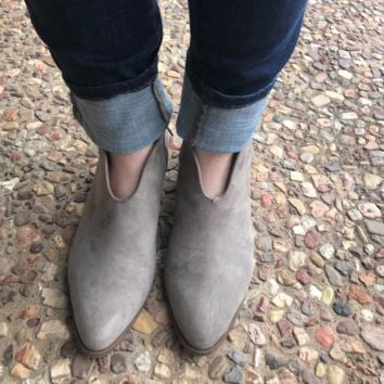 Deep V Taupe Suede Booties
