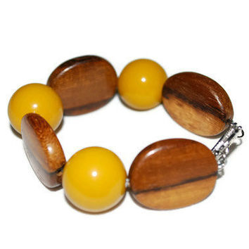 Mustard and Striped Wood  Chunky Beaded OOAK Bracelet by chumaka
