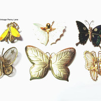 Vintage Insect Pins, Butterfly Brooches, Destash Lot