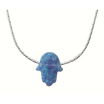 Silver Necklace & Color Opal Jewelry Hamsa & Hearts