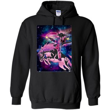 Marvel Deadpool In Space Unicorn Saddles Ablaze  Pullover Hoodie 8 oz