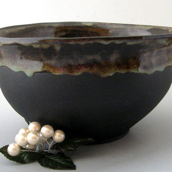 Hand Thrown Stoneware Bowl Thrown from Natural Black Clay