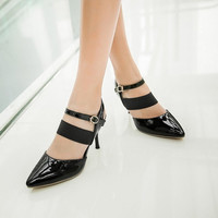 Pointed Toe Buckle Ankle Wrap High Heels Spike Heel Women Sandals 5523