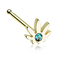 Golden Color Cannabis Sparkle Nose Stud Ring - 20 G - Sold as a Pair