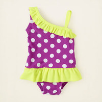 one-shoulder dot ruffle swimsuit