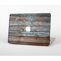 The Wood Planks with Peeled Blue Paint Skin Set for the Apple MacBook Air 11""