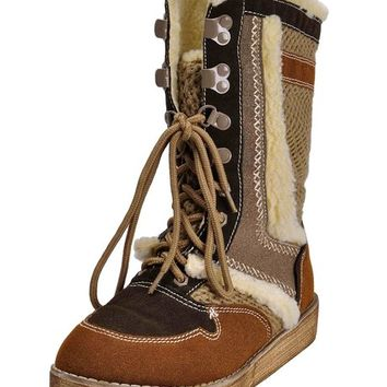 ZLYC Womens Retro Vintage Tribal Style Lace Up Mid-Calf Winter Warm Snow Boots