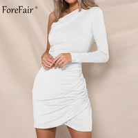 Forefair One Shoulder Sexy Bodycon Dress Women Autumn Long Sleeve Ruched Club Dress Winter Ladies Party Dress
