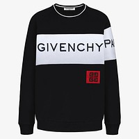 GIVENCHY autumn and winter new trend men's stitching long-sleeved embroidery letter round neck sweater black