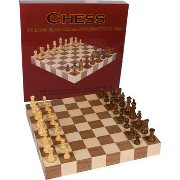 Athena Tournament Chess Inlaid Wood Board Game with Weighted Wooden Pieces - 18 Inch Set '