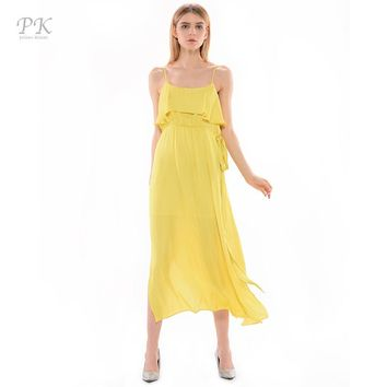 PK Yellow Maxi Women Dresses Long Summer Dress Bandage Dress Vestidos Mujer Boho Robe Gown Elbise Vintage Clothing Oversize