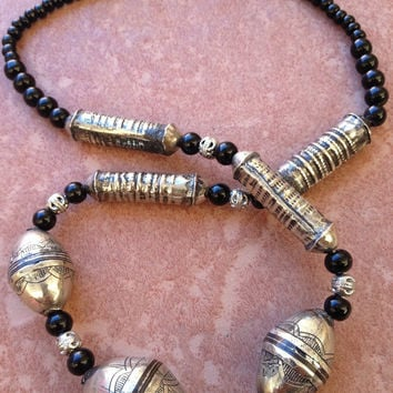 Tuareg Silver with Ebony Inlay, Onyx Beads, North African Necklace