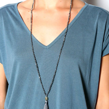 Light up the Night Luxe Grey Tassel Necklace