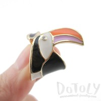 Colorful Toucan Bird Shaped Animal Themed Enamel Ring | US Size 6