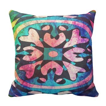 Geometric shape in colorful nebula throw Pillow