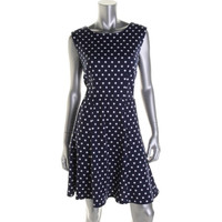 Elementz Womens Petites Ponte Polka Dot Casual Dress