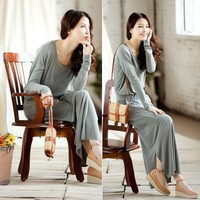 Solid Color Long Sleeve Casual Long Dress - Designer Shoes|Bqueenshoes.com