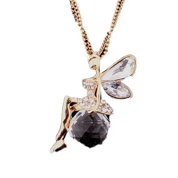 Crystal Angel Wings Long Chain Necklace/Ahiny Butterfly Fairy Fashion Necklace Jewelry