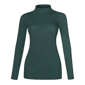LE3NO Womens Basic Lightweight Fitted Long Sleeve Mock Neck Cotton Shirt with Stretch