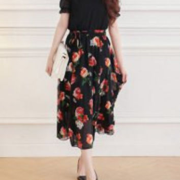 Lace-Up Floral Pattern Stand Collar Short Sleeve Casual Chiffon Maxi Dress For Women