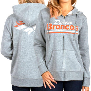 Denver Broncos Women's Full Zip Hoodie - Gray
