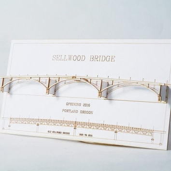 Portland Oregon Sellwood Bridge  - Laser Cut Card - Portland Oregon