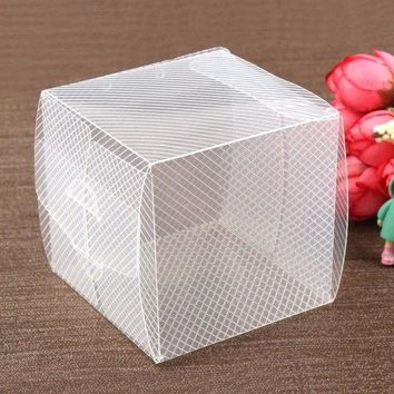Clear Backpacks popular New 50Pcs 8*8*8cm Clear Twill Plastic PVC Goods Display Candy Boxes/ Toy Packing /Candy Gifts and Little Cupcake Storage AT_62_4