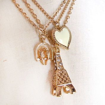 SALE gold chain charms necklace heart pendant Eiffel Tower birds gift funky boho love friendship