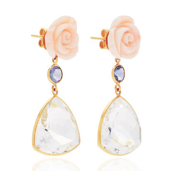 18K Gold Pink Coral Flower, Lolite, Rock Crystal Earrings | Moda Operandi