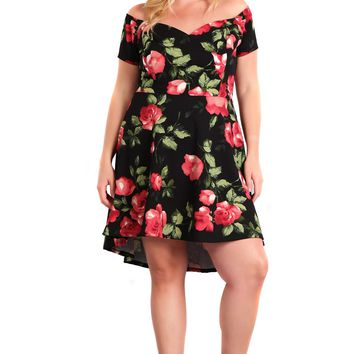 Floral Fit & Flare Plus Size Off The Shoulder Cocktail Dress Made In U.S.A
