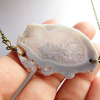 Red Sea Mineral White Agate Stone Pendant Long Bronze Layering Necklace