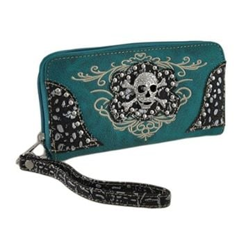 Teal Blue Rhinestone Studded Skull Clutch Wallet