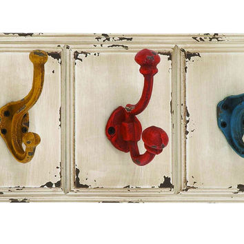 Wood Wall Metal Hook With Elegant Color Combination Of White Wooden Plaque And Yellow, Red And Blue Metal Hooks