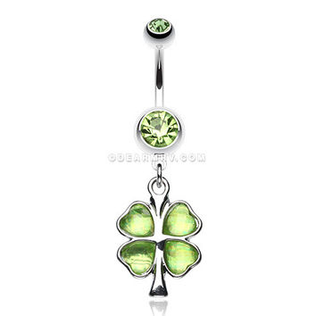 Lucky Four Leaf Clover Dangle Belly Ring (Green)