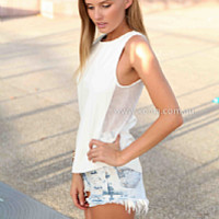 HEY BROTHER TOP , DRESSES, TOPS, BOTTOMS, JACKETS & JUMPERS, ACCESSORIES, 50% OFF SALE, PRE ORDER, NEW ARRIVALS, PLAYSUIT, COLOUR, GIFT VOUCHER,,White,CUT OUT,SLEEVELESS Australia, Queensland, Brisbane