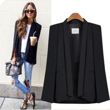 New Ladies Autumn Women Long Sleeve Lapel Cape Poncho Office Jacket Cloak Blazer Suit Coat