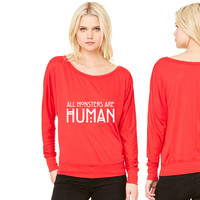 All monsters are human women's long sleeve tee