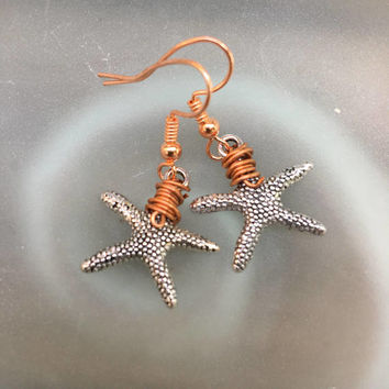 Small Starfish Earrings , Silver and Copper Starfish Dangle  earrings, Mermaid Nautical Jewelry Minimalist Starfish Gift for Her