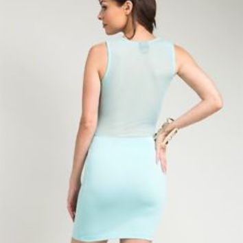 Sexy Mint Bodycon Form Fitting Club / Party / Cocktail Dress w/ Mesh NEW