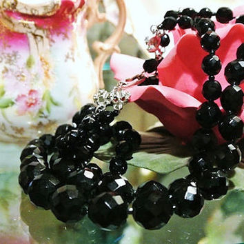 HOBE Necklace Double Strand Jet Black Glass Double Strand Faceted Beaded Choker Designer Runway Glam Little Black Dress 1950s Sexy Evening