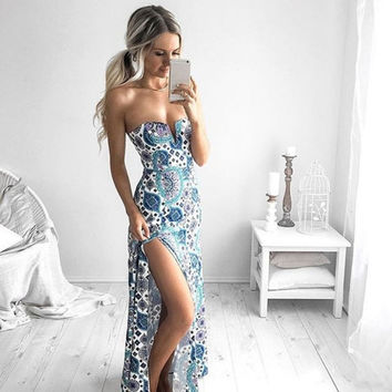 Slim Elegant Sexy Party Off Shoulder Maxi Long Split Wrapped Chest Print Dress