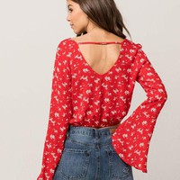 FULL TILT Floral Bell Sleeve Womens Top