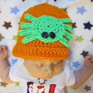 Crochet Halloween Spider Baby Cap, Orange Beanie with Bright Green Spider, MADE TO ORDER