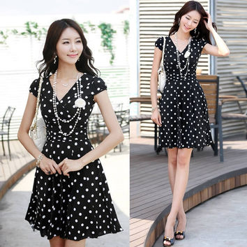 New Fashion Sexy Career Women's High Waist Slim Short Sleeve V Neck Polka Dot Dress