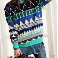 Geometric diamond-shaped color stripes loose sweater fs08  (not process order until 22nd Fed 2013)