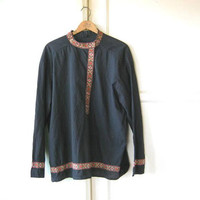 Black Cossack Style Top; Women's Medium High-Collar Bohemian Longsleeve Shirt w/ Embroidery Trim; U.S. Shipping Included