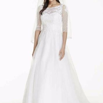 3/4 Sleeve Wedding Dress with Lace and Tulle Skirt - Davids Bridal