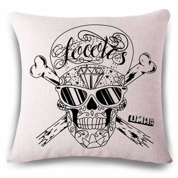 Hand Painted Linens Cotton Halloween Sugar Skull Pillow Cover Vintage Home Decor For Sofa Car Color Cushion Cover Bedding e1262 - Polyester Cotton, 45x45cm No13 Cover