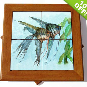 10% OFF Lazy Susan - Cherry Wood with Mosaic Angelfish Watercolor Ceramic Tiles